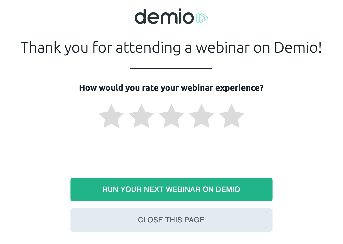 Demio thank you page after a webinar