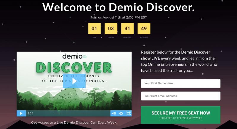 Demio Discover Webinar Promotion