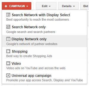 Google Adwords Display Network Only Campaign