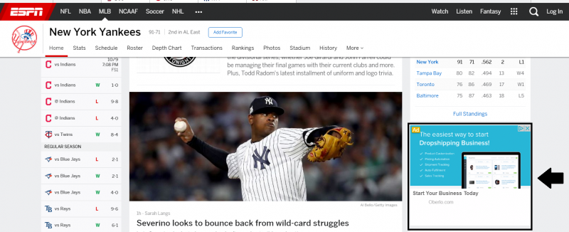 PPC Ad on ESPN Site