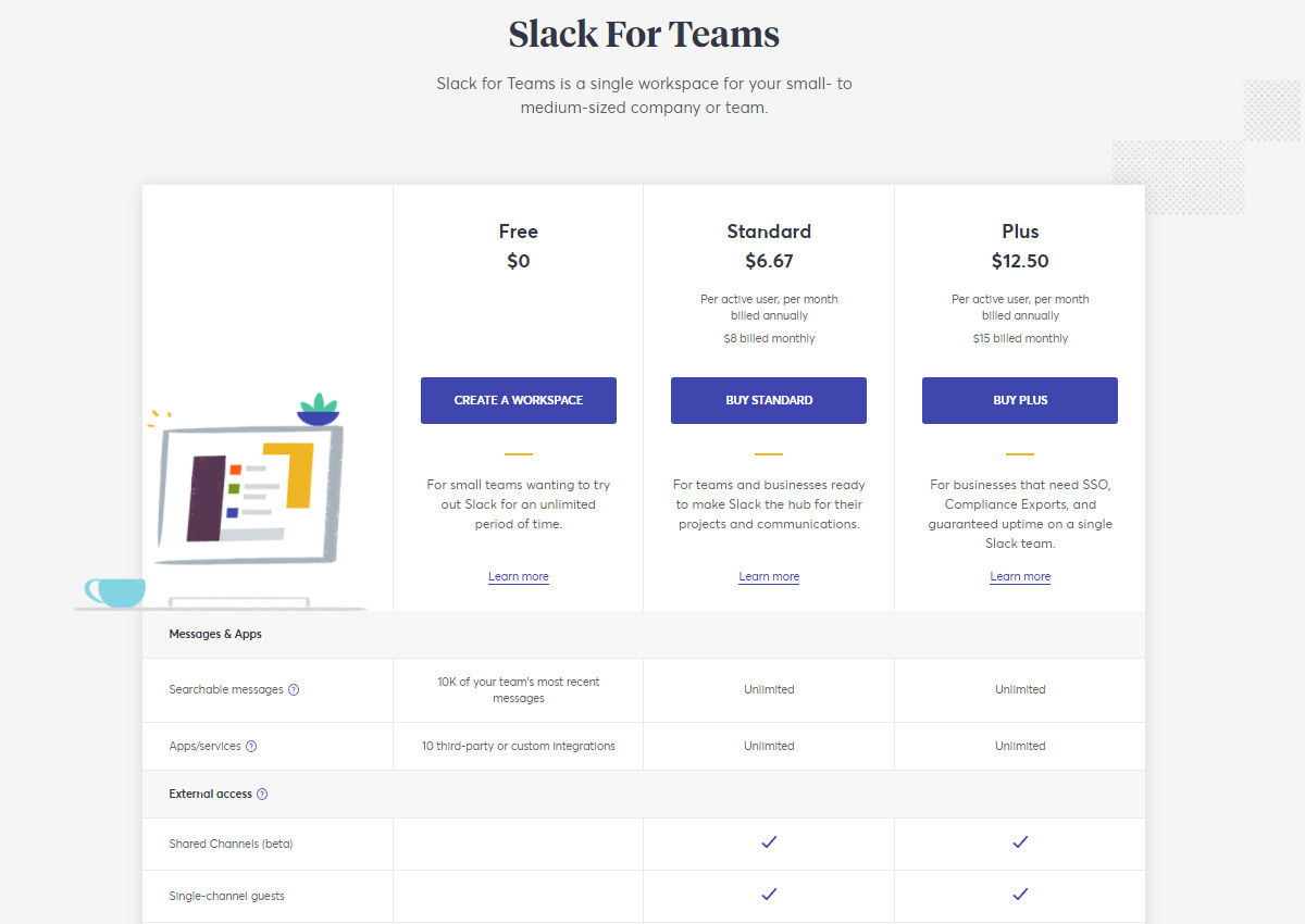 Slack SaaS Pricing Model
