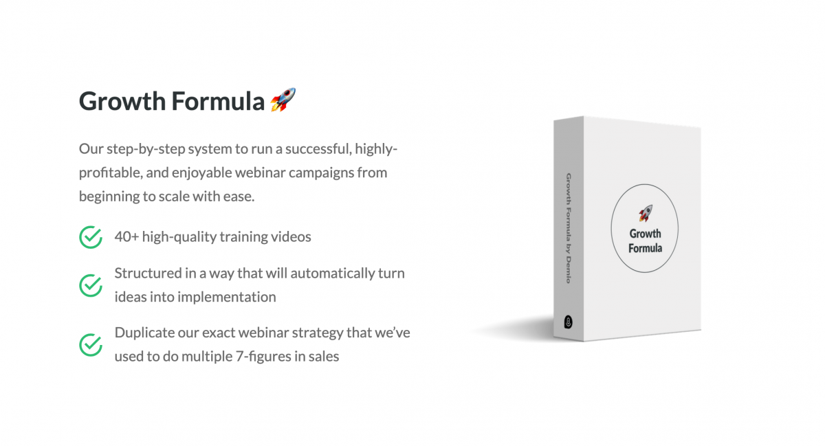 Growth Formula course by Demio