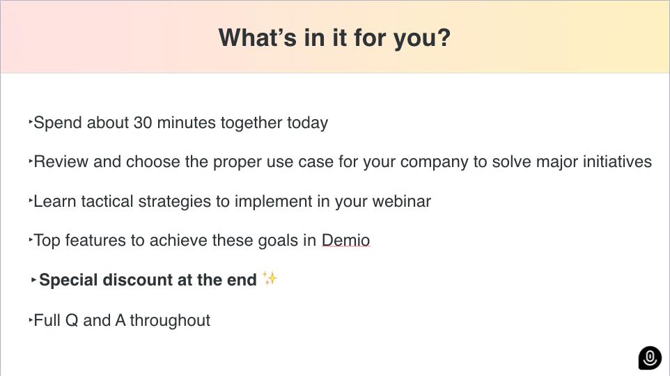 Demio's Onboarding Webinar slide example