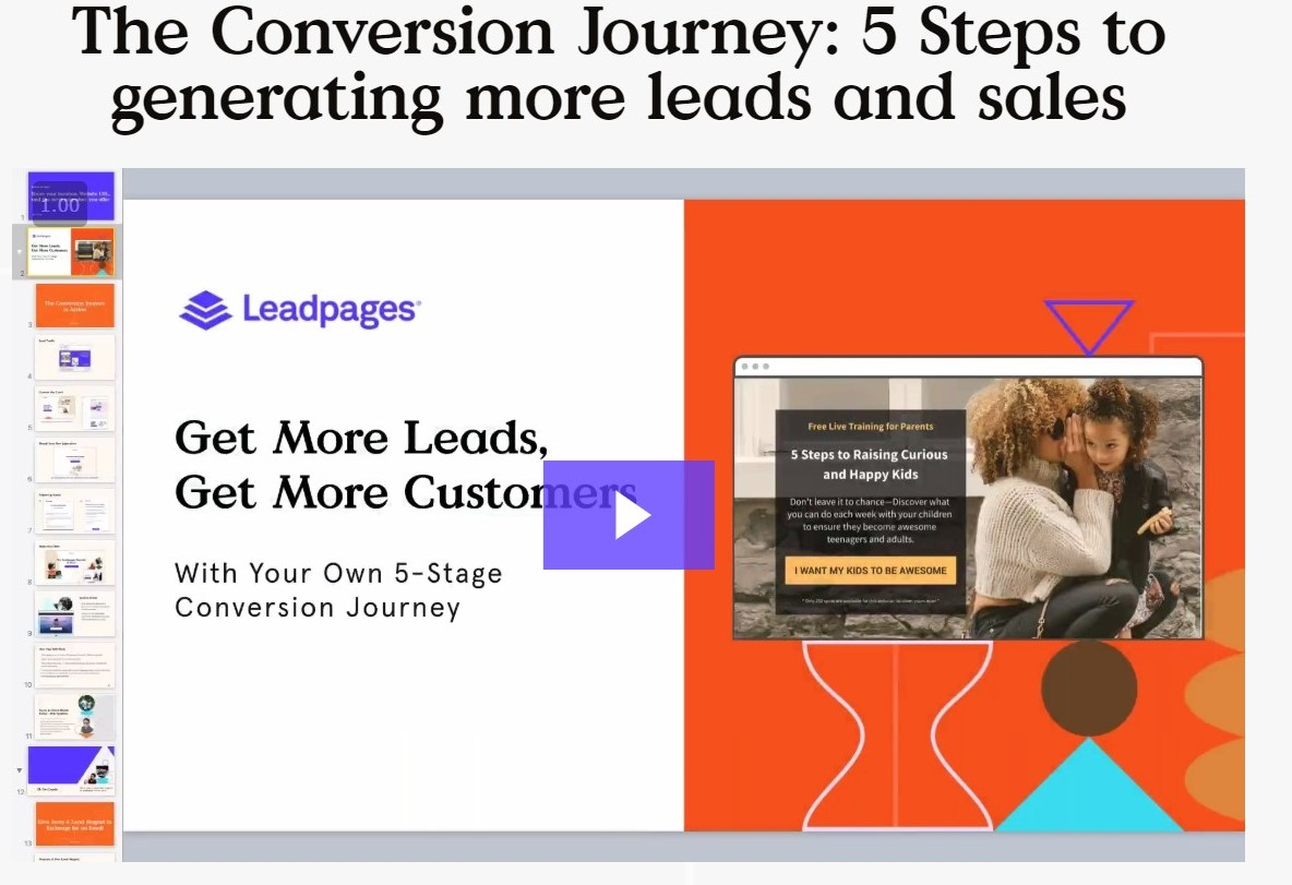 Leadpages conversion journey - onboarding webinar slide