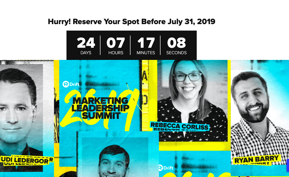 Drift Evergreen Webinar Countdown