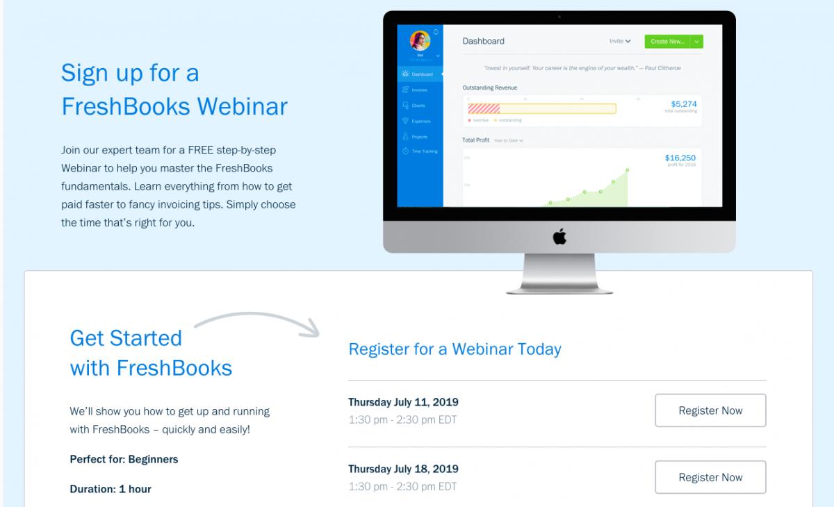 Freshbooks Landing page for Webinars