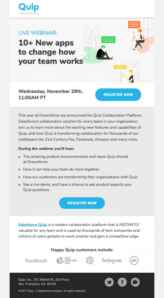 Evergreen Webinars - Quip Webinar Email invite