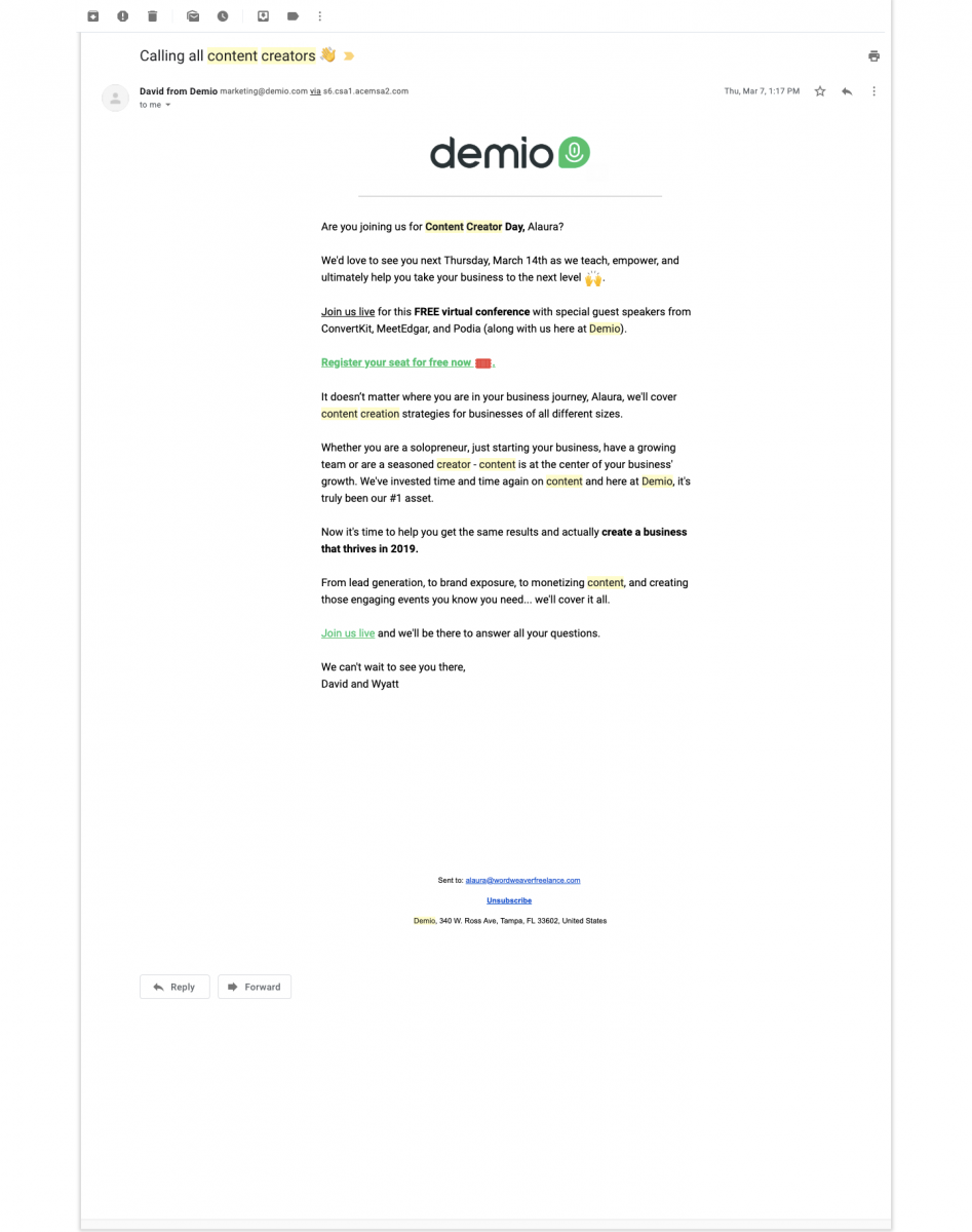 Evergreen webinars reminder emails - Demio campaign