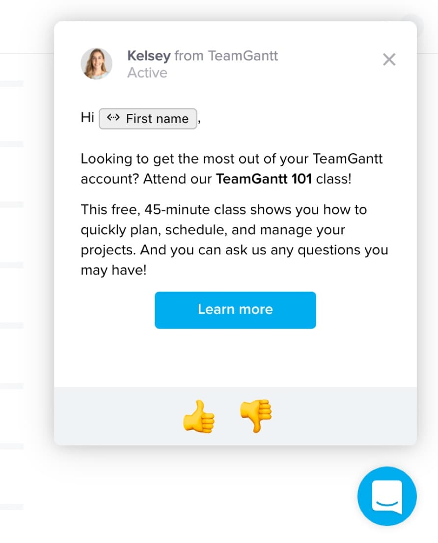 In-App Messages from TeamGantt