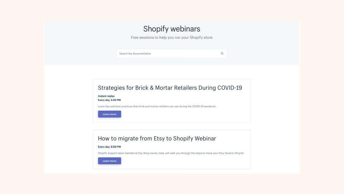Shopify Webinars