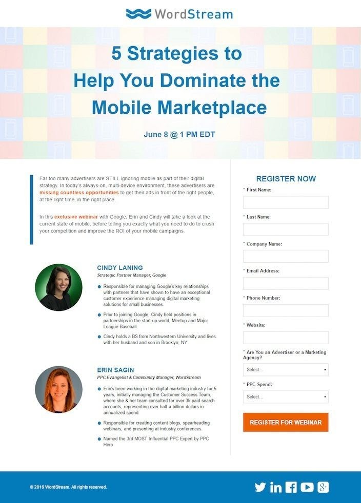 great webinar page by WordStream