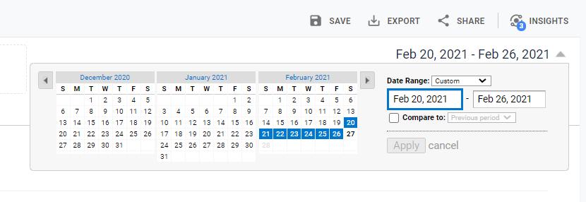 adjust analytics dates to webinar campaign