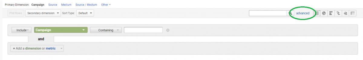 advanced options google analytics data