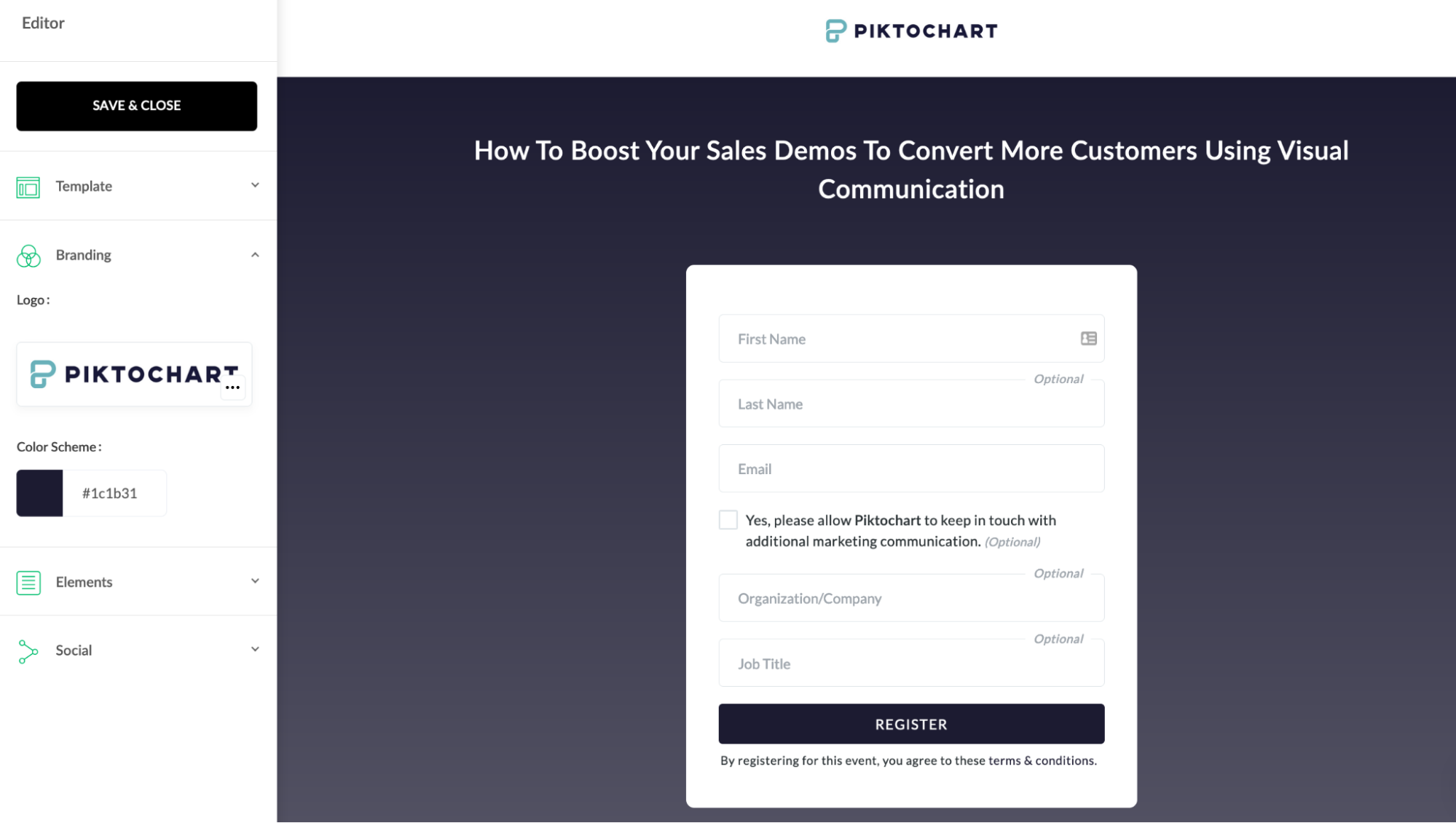 customize the webinar platform to fit your brand